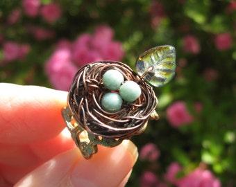 Enchanted Moss Woodland Birdnest on Verdigris Filigree adjustable ring