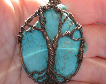 Tree of life on Turquoise pendant version two comes with vintage copper chain