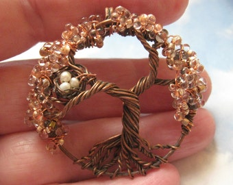 Mini Copper Fairy Sparkle tree of life woodland on copper chain fall colors hammered copper handmade