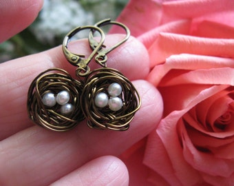 Mini Bronze Woodland Magic Birdnest Earrings with white pearl eggs