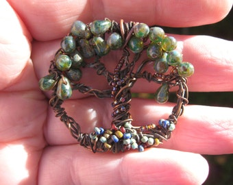 Mini Moss Woodland Hammered Tree of Life on copper chain