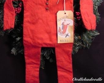 Primitive Santa's Red Union Suit, Hanger and Tag Instant Digital Download E-Pattern  ET