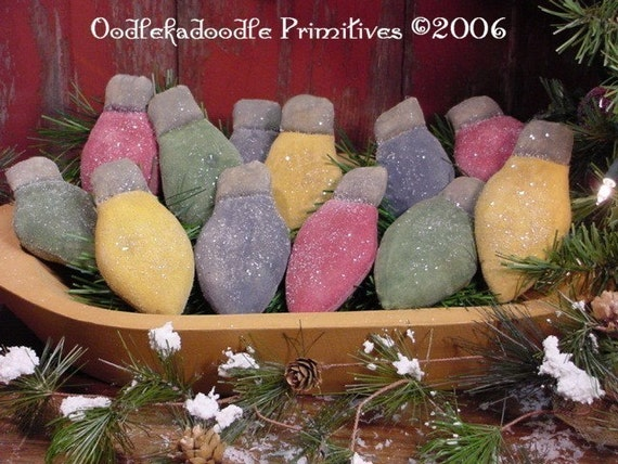 primitive holiday christmas lights ornies tucks bowl filler