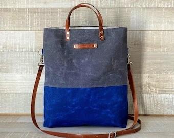 Lykia - UNISEX WAXED TOTE BaG - WaLLeT Set, WATeRPROOF, Two Colors Bag, Blue Gray Tote Bag, Foldover Bag, Cross body bag, gift, rustic, eco