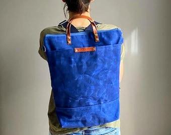 Waxed Canvas Backpack - in BLUE, Convertible Backpack, Diaper Backpack, A3, Rucksacks - true blue