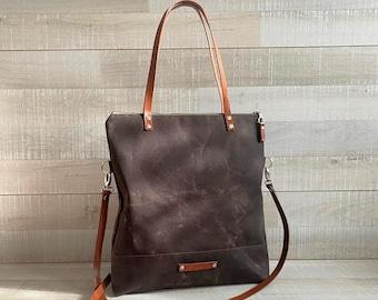 Waxed Canvas Tote Bag in CHOCOLATE BROWN | Milano - dark brown tote bag -