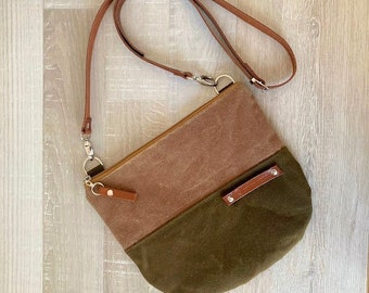 Pisidia - Daily Waxed Canvas Cross Body Bag, Beige and Army Green Messenger Bag, Two Tones, Small Bag, Long leather strap, everyday bag