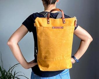 Waxed Canvas Backpack - Mustard Yellow, Convertible Backpack, Diaper Backpack, A3, Rucksacks - mellow yellow