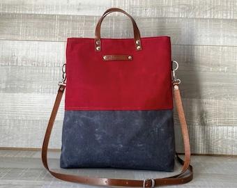 Lykia - UNISEX WAXED TOTE BaG - WaLLeT Set, WATeRPROOF, Two Colors Bag, Red Gray Tote Bag, Foldover Bag, Cross body bag, gift, rustic, eco