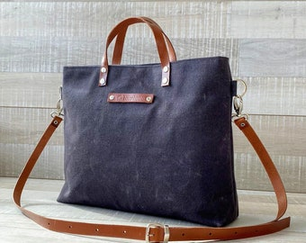 """Waxed Canvas Tote -small- in Anthracite"""" Dark Gray """", for men, for women, unisex tote, fall fashion, rustic, autumn, winter, harvest, carry"""