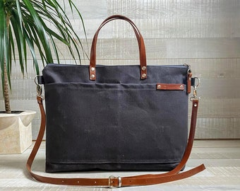 Waxed Weekender canvas Tote Bag in Anthracite / Dark GRAY | Awesome Top seller