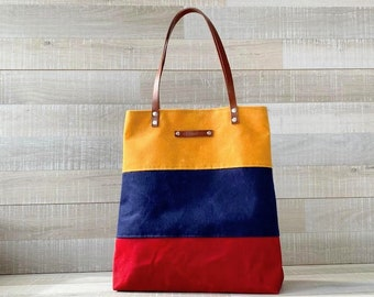 Three Color Combo Large Waxed Canvas Tote Bag - Mustard Yellow Navy Red Bold Striped Tote Bag - Customizable