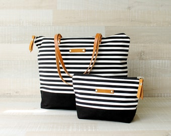 Zippered Striped Tote Bag, EXPRESS SHIPPING, Tote Diaper Bag, Leather Straps, Summer Beach Bag, Nautical Bag, Handbag, Canvas, Laptop Bag