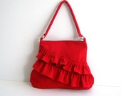 NEW Frilly Bag in Red ..zippered closure..