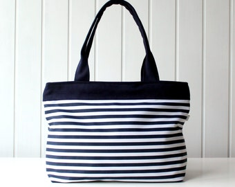 Navy and White Stripes Tote Bag, Beach Bag, ZIPPER CLOSURE, Diaper Bag, Laptop Bag, Purse, Large, Medium, Spring Summer