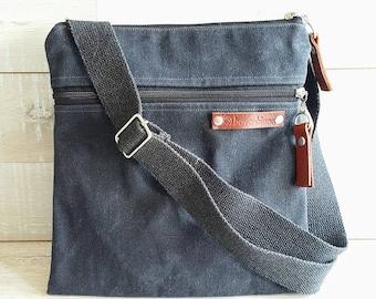 UNISEX Daily WAXED Canvas Messenger Bag, CrossBody Bag, Charcoal Black, zippered outside pocket  Small Bag, Passport Bag, Organizer bag