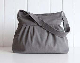 Olive Grey Canvas Pleated Bag - Messenger bag, adjustable strap with ZIPPER closure - diaper bag, Travel bag, trip / smoke gray
