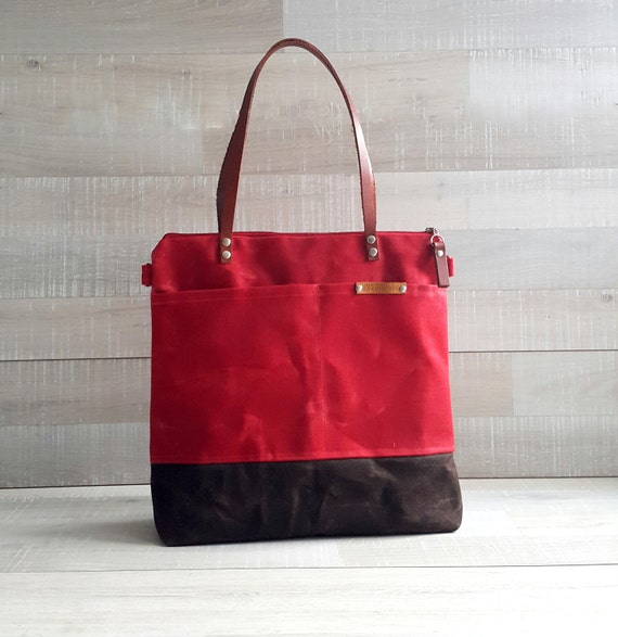 dfd0662686ab WAXED CANVAS TOTE in Red and Brown ZiPPERED Unisex Laptop