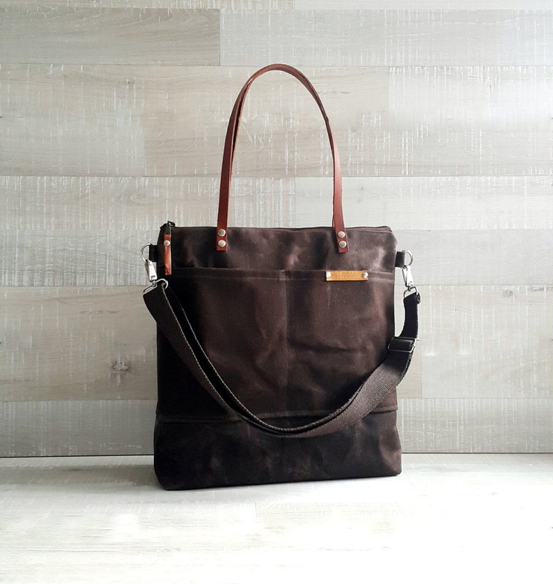 7bb72f07c14 WAXED CANVAS TOTE in Chocolate BRoWN ZiPPERED, Unisex, Laptop Bag, Diaper  Bag, School Bag, Leather Straps, Coffee, Macbook Pro Bag, Tote