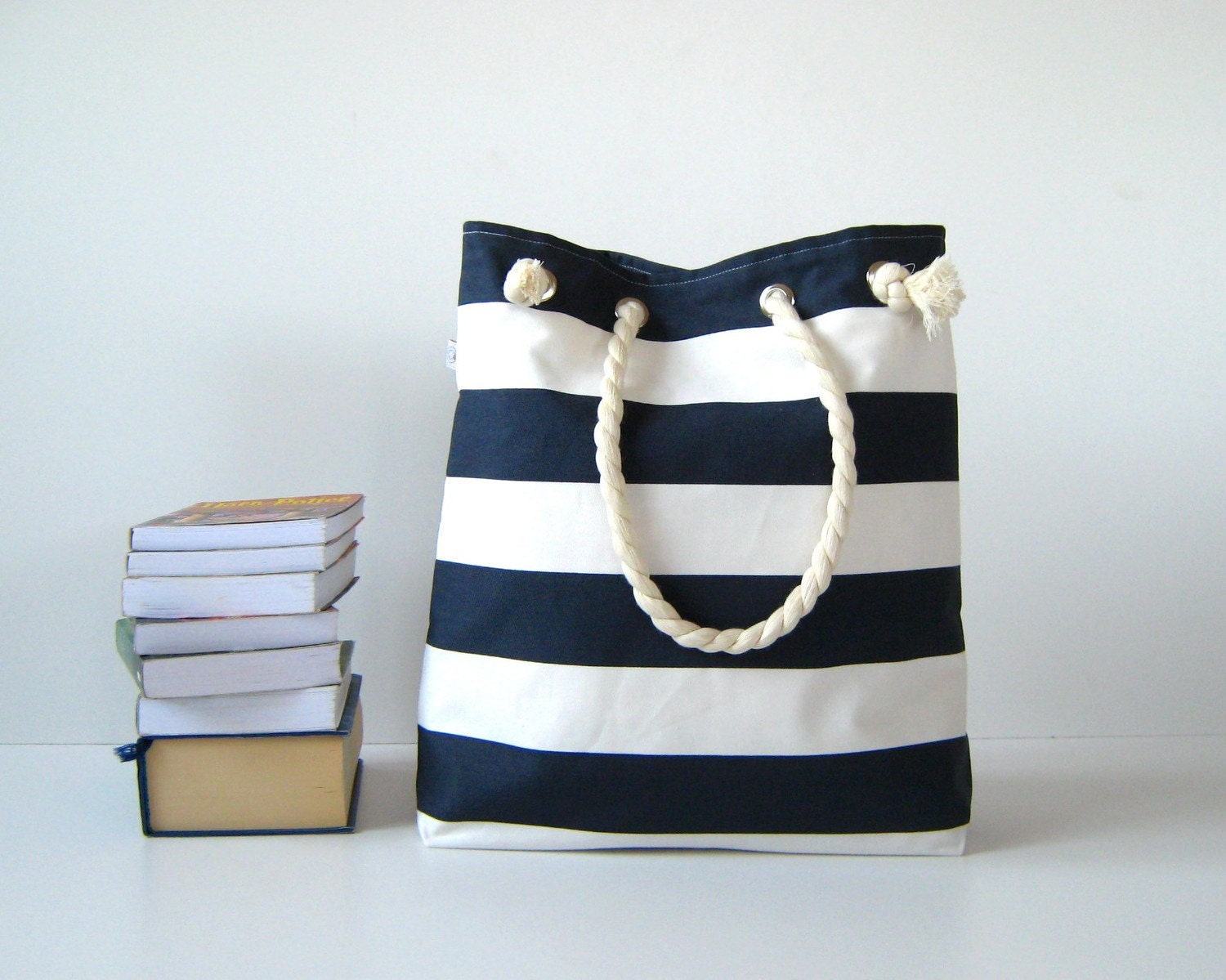 Sailor Tote Bag --for market or beach or gym-- - dark blue and white bold striped, X-Large and cotton rope straps