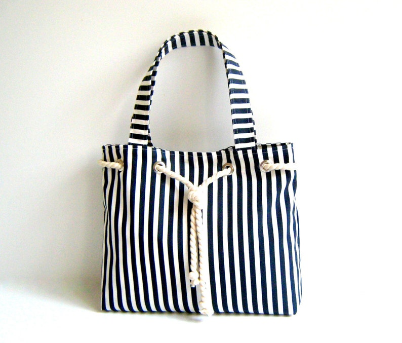 ce1be90d7e5f5e Sailor Tote Bag navy blue and white striped with cotton