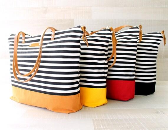 Bolso de totalizador de la raya, la marina y blanco, expreso envío, pañal, correas de cuero, Set de pañales, bolso playa, bolso náutico, totalizador