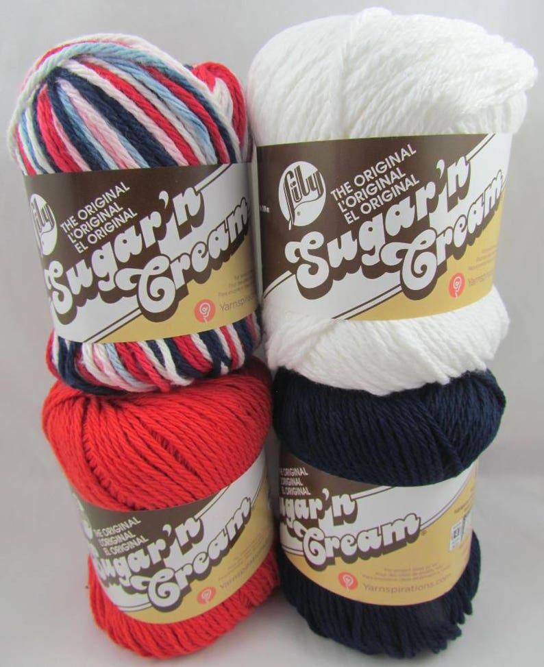 Lily Sugar'n Cream Yarn RED WHITE BLUE