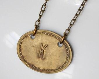 """Vintage Brass Tag """"K"""" Necklace"""