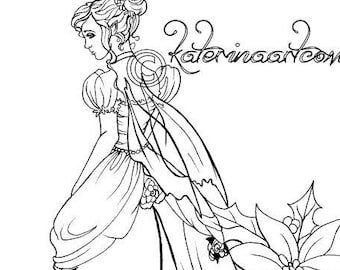 Christmas Fairy Coloring Page Instant download Digi Stamp