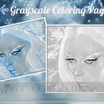 Printable Coloring Page Instant Download Grayscale Image Fantasy Art by Katerina Art