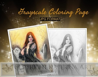 Printable Coloring Page Instant Download Grayscale Image Fantasy Art by Katerina Art In between gothic lady cemetary