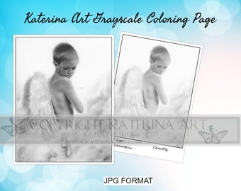 Printable Coloring Page Instant Download Grayscale Image Fantasy Art by Katerina Art Angel tears angel boy