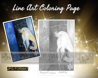 Printable Coloring Page Instant Download Grayscale Image Fantasy Art by Katerina Art Tempest of ice