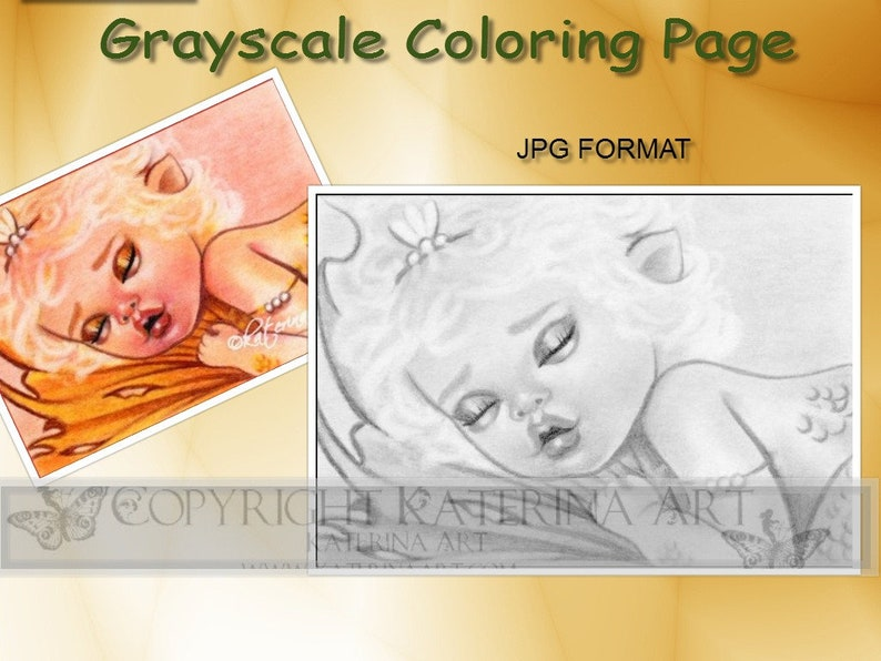 image relating to Printable Grayscale titled Prompt down load PRINTABLE Grayscale Coloring Webpage Katerina Artwork Myth Artwork