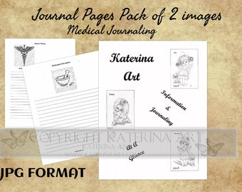 Printable Journal Digital Pack of 2  pages, journal pages Katerina Art Journaling  pages