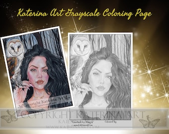 Printable Coloring Page Instant Download Grayscale Image Fantasy Art by Katerina Art Touched by magic girl and owl