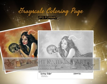 Printable Coloring Page Instant Download Grayscale Image Fantasy Art by Katerina Art Fortune teller girl