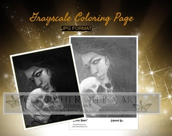 Printable Coloring Page Instant Download Grayscale Image Fantasy Art by Katerina Art Lovely Bones lady skull