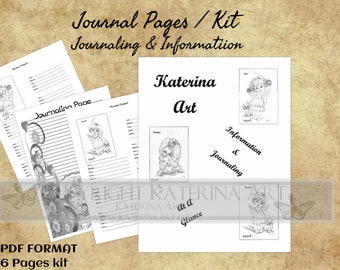 Printable Journal Digital Kit, journal pages  PDF kit Katerina Art Journaling and Information pages