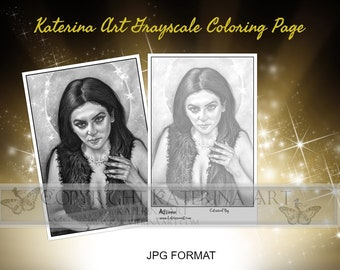 Printable Coloring Page Instant Download Grayscale Image Fantasy Art by Katerina Art Astraea