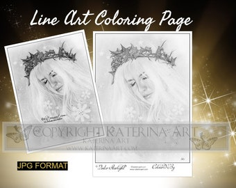 Printable Coloring Page Instant Download Grayscale Image Fantasy Art by Katerina Art winter starlight