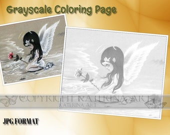 Printable Coloring Page Instant Download Grayscale Coloring Page Mermaid Art by Katerina Art
