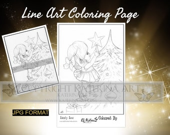 Printable Coloring Page Instant Download Grayscale Image Fantasy Art by Katerina Art Lindy lou