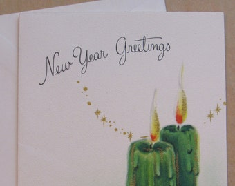 new year card vintage 1950s hallmark greeting card hall brothers green candles glitter sparkle accents holly traditional