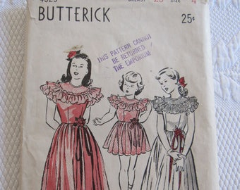 Flower Girl Butterick Pattern #4329 Vintage 1940s Sewing Wedding Fancy Girls Party Dress Pattern Size 4 Bridal Party Maxi Length & Short