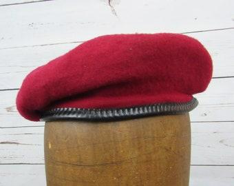 9f0224ce3e2 RED Wool Military BERET Vintage 1970s Unisex Cap Black Vinyl Trim Made In  Denmark 7-1 8 Costume