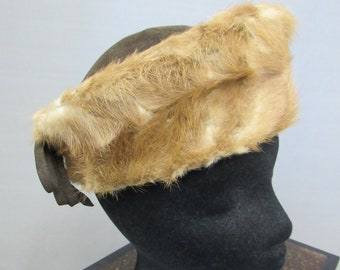 1fe9cf1ccb3 Fur Hat - Mink Fur Trimmed Brown Wool Hat Vintage 1940s Wool and Fur Hat -  MAYME SHEA Hat Shoppe Wool Hat Fur Hat Vintage Women s Clothing