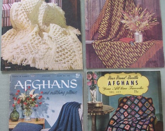 4 Vintage 1940s-70s Knit & Crochet AFGHAN Pattern Books Afghans Blanket Throws Booklets How To Knit or Crochet Patterns Knitting Crocheting