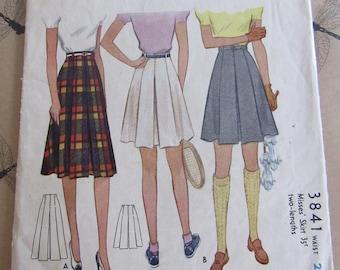 McCall School Girl Skirt Sewing Pattern #3841 Vintage 1950s Pleated Skirt Pattern Waist 26 Hip 35 Sport