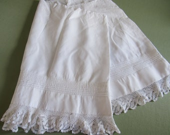 959722b785a Antique Vintage 1900s Reclaimed Petticoat Piece Handmade Pintucking    Crochet Lace Trim Edging Doll Clothing Repurpose Crafts Sewing Fabric